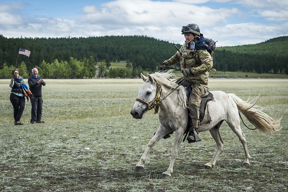 US Air Force Officer Tim Finley crosses the line in the Mongol Derby 2016