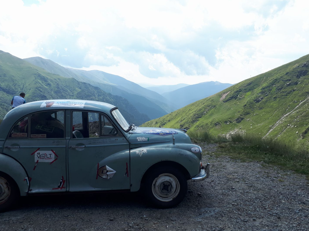 Team Taking Care of Business made it up the Transfagarasan Highway in their two Morris Minors.