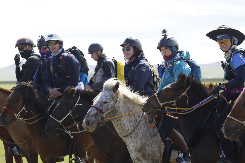 Riders line up at the start of The 2017 Mongol Derby on 9.8.2017. in Mongolia. Picture by: (C) Julian Herbert.