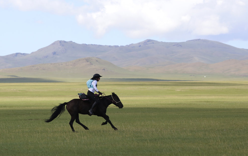 LW leaves horse station 2 on day 1 of The 2017 Mongol Derby on 9.8.2017. in Mongolia. Picture by: (C) Julian Herbert.