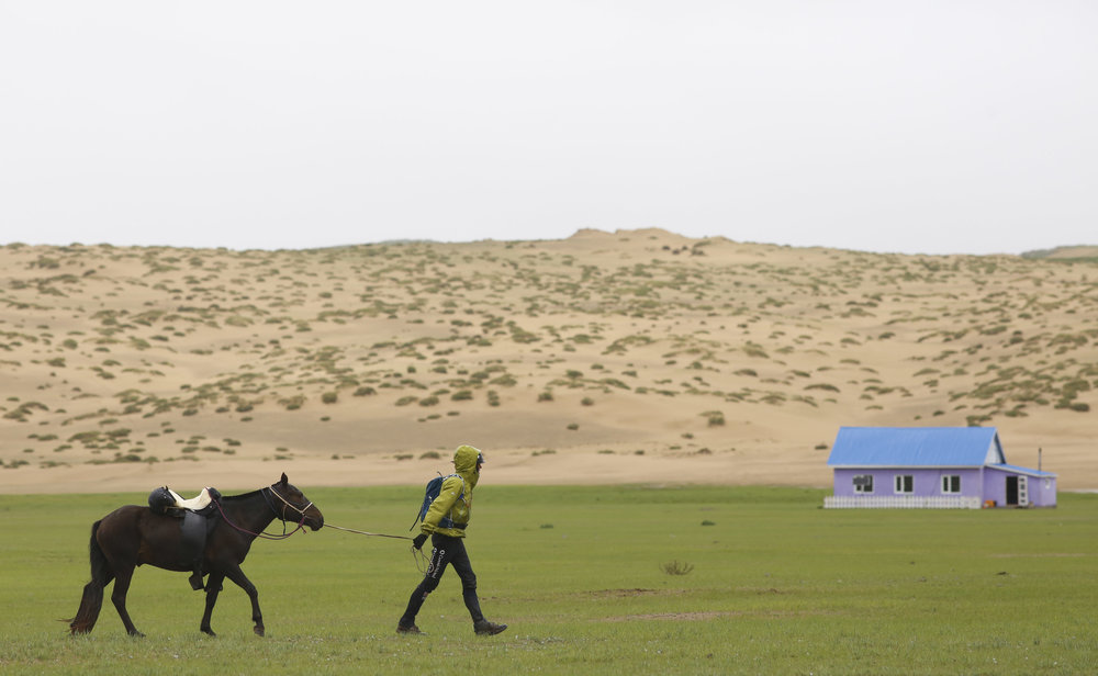 PR arrives at HS5 during day 2 of The 2017 Mongol Derby on 10.8.2017. in Mongolia. Picture by: (C) Julian Herbert.