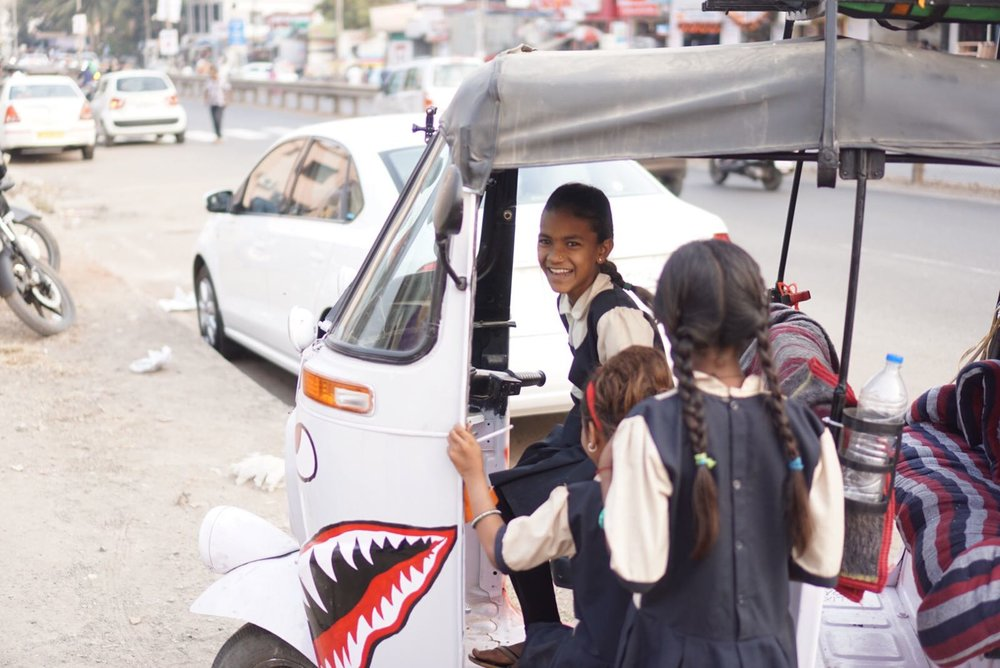 """Grateful to have time to make a stop at The Doorstep School in Pune, the organisation we raised money for. When the teacher asked the kids ""what work do you think they do back home?"", the kids answered ""tuk tuk drivers!"". I think they were as excited about the tuk as we are.""  Jeff Shaknaitis"