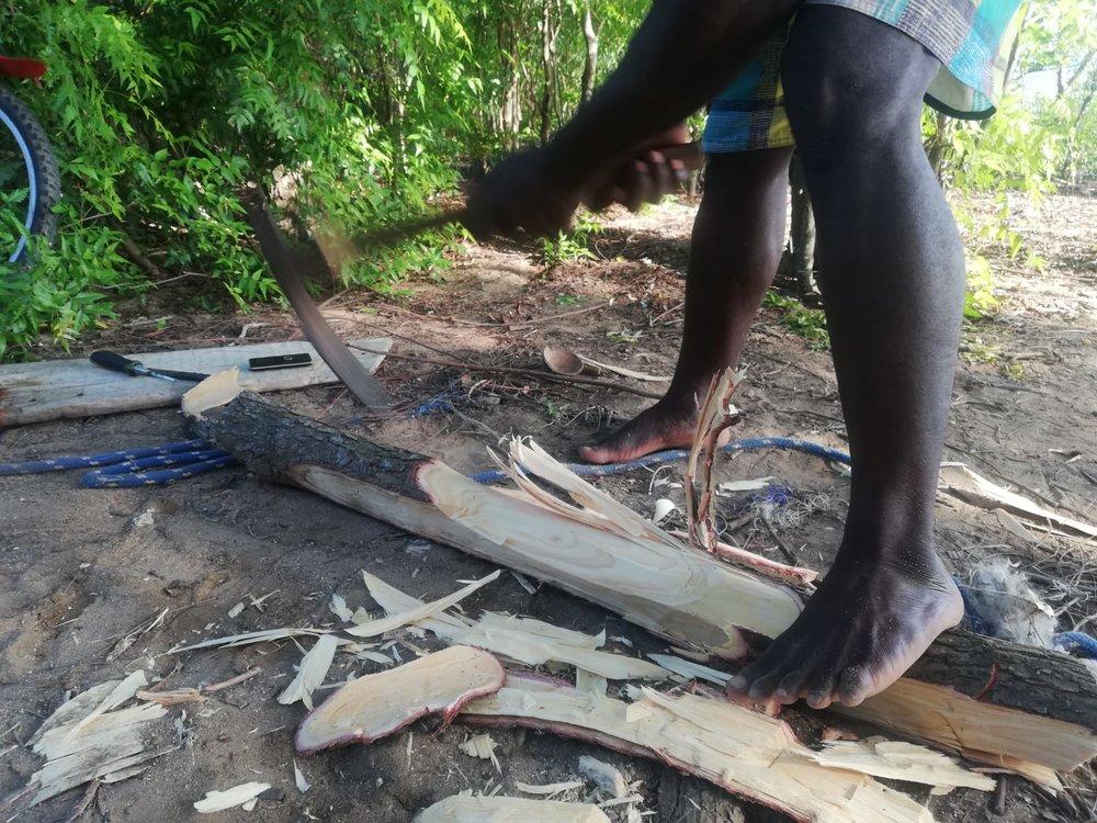 Local fisherman help repair Ngalawas