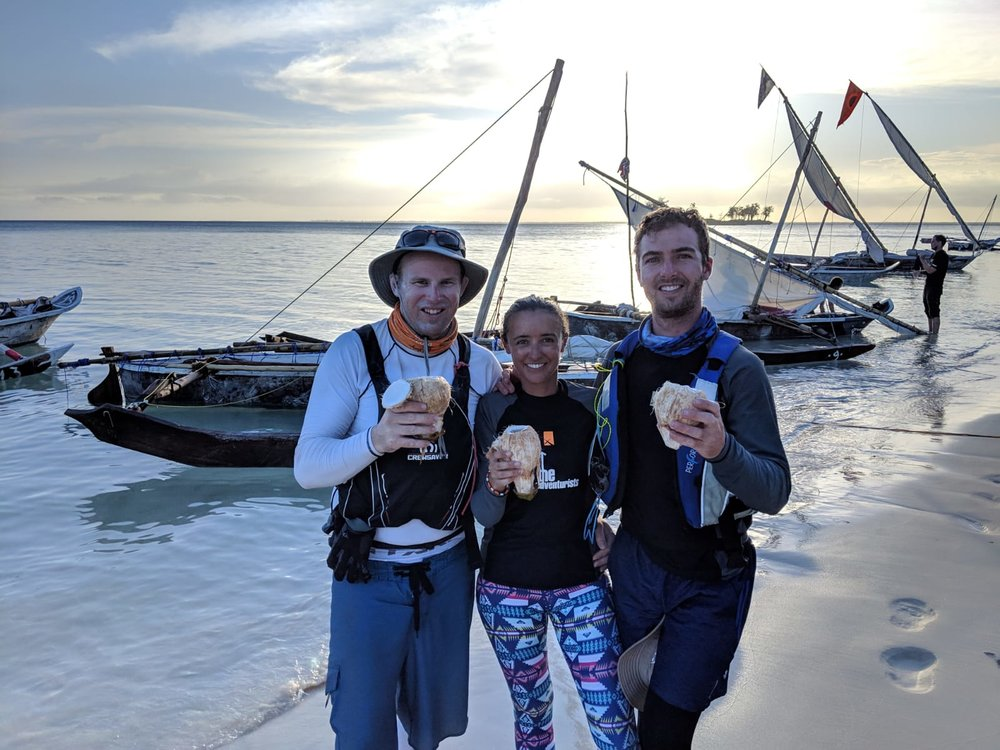 Schrodinger's Catamaran tucking into coconuts after their 50nm marathon yesterday