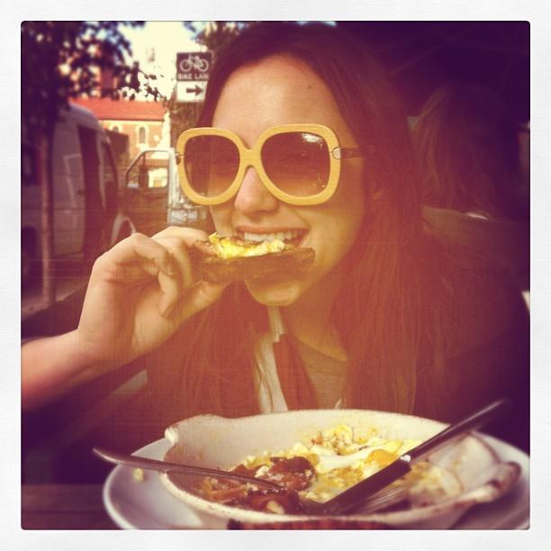 Groovy eggs on toast. @tracyhepler / on Instagram  http://instagr.am/p/RD2K_/