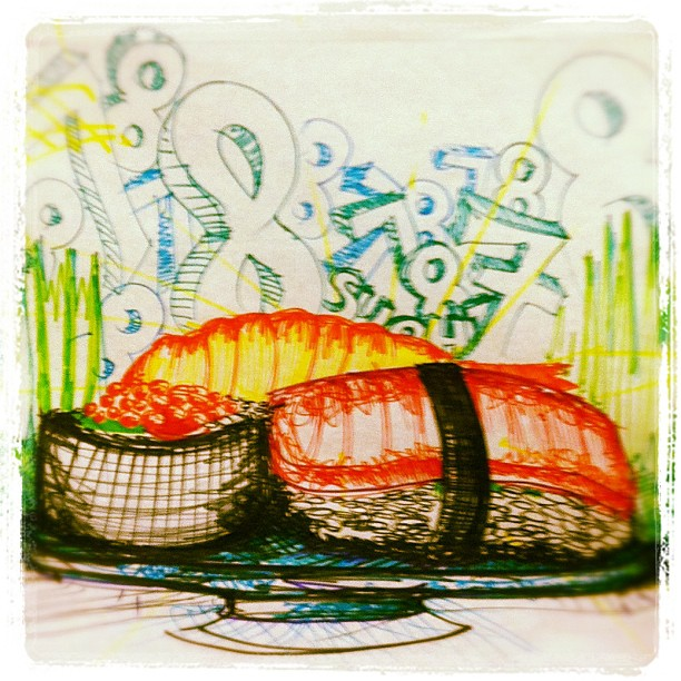 """Sketch-a-thon. My subject was a """"letters/numbers"""" and """"your favorite food."""" / on Instagram  http://instagr.am/p/PMkpd/"""