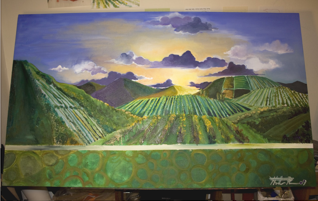 Wine country at dusk.   Dimensions: 3.5' x 2'. Medium: oil and mixed media.