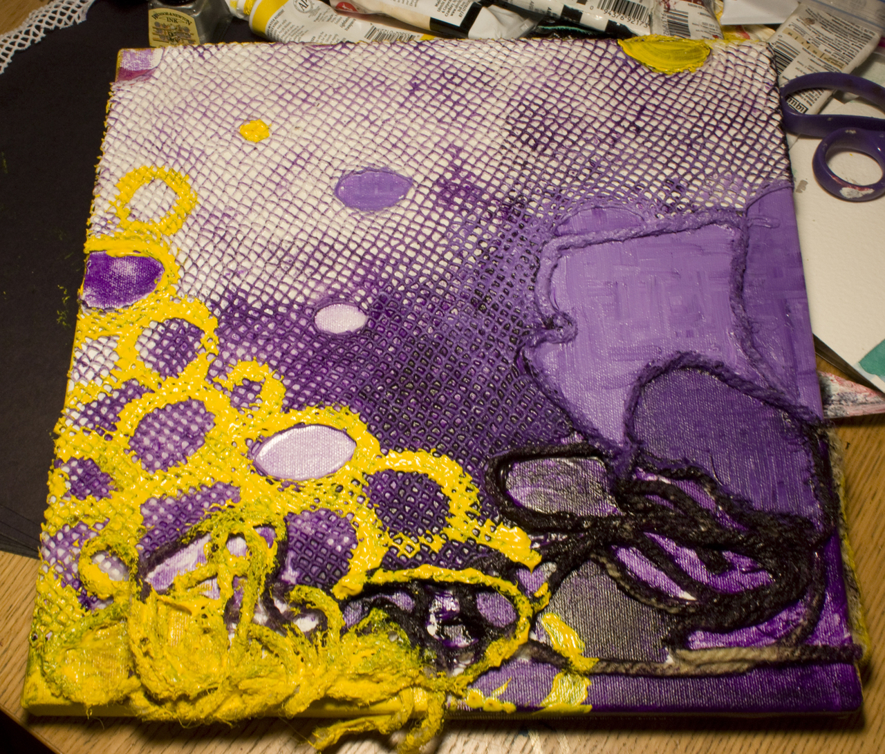January 26-27, 2009.   Medium: Acrylic, Resin, Fabric and String on Canvas.