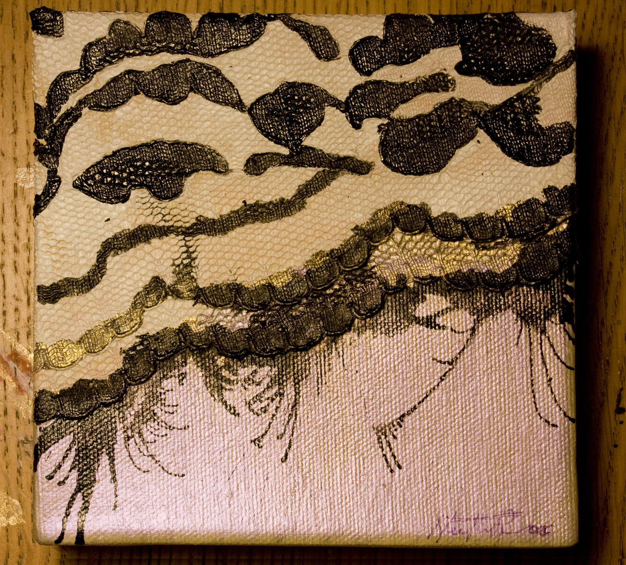January 23, 2009.  Revisiting lace.     Medium: Acrylic, ink and fabric on canvas