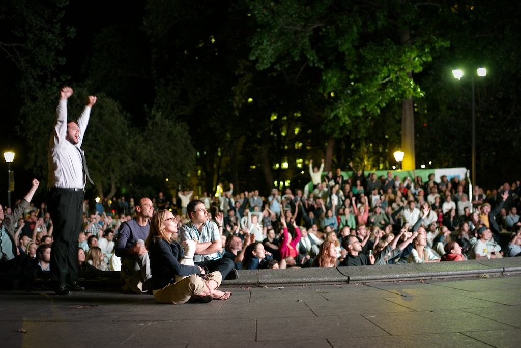 The crowd at Madison Square Park reacts after Andy Murray won the U.S. Open last night.
