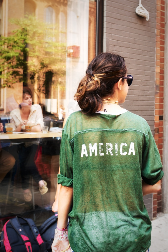 I would like to think that Leandra's top was inspired by Obama's speech last night.