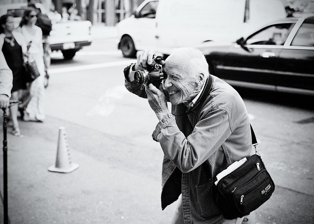 Bill Cunningham, New York Fashion Week, September 2011  on Flickr.   Leica M7, 50mm Summicron-M, Ilford XP2