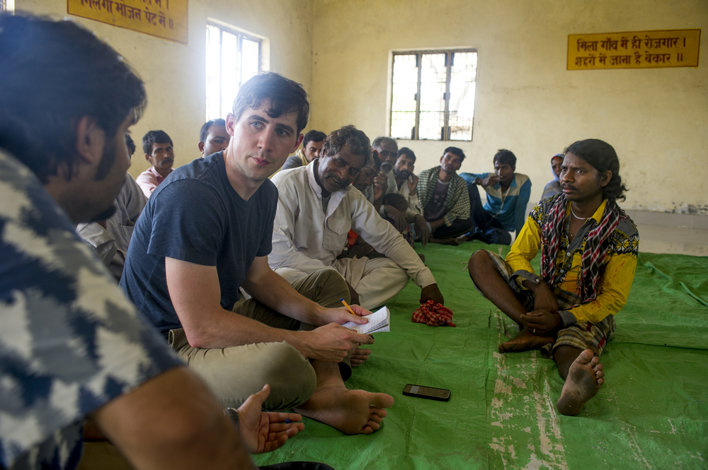 Reporting in a village outside of Varanasi, India, in April 2016.