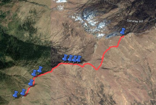 Route overview - Nathatop to Chorgala trek