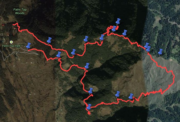 Route overview - unnamed ridge over Patnitop