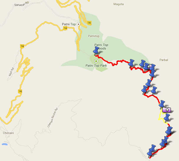 Route Map - Patnitop to Sudh Mahadev - Day Trek (view in Google Maps)
