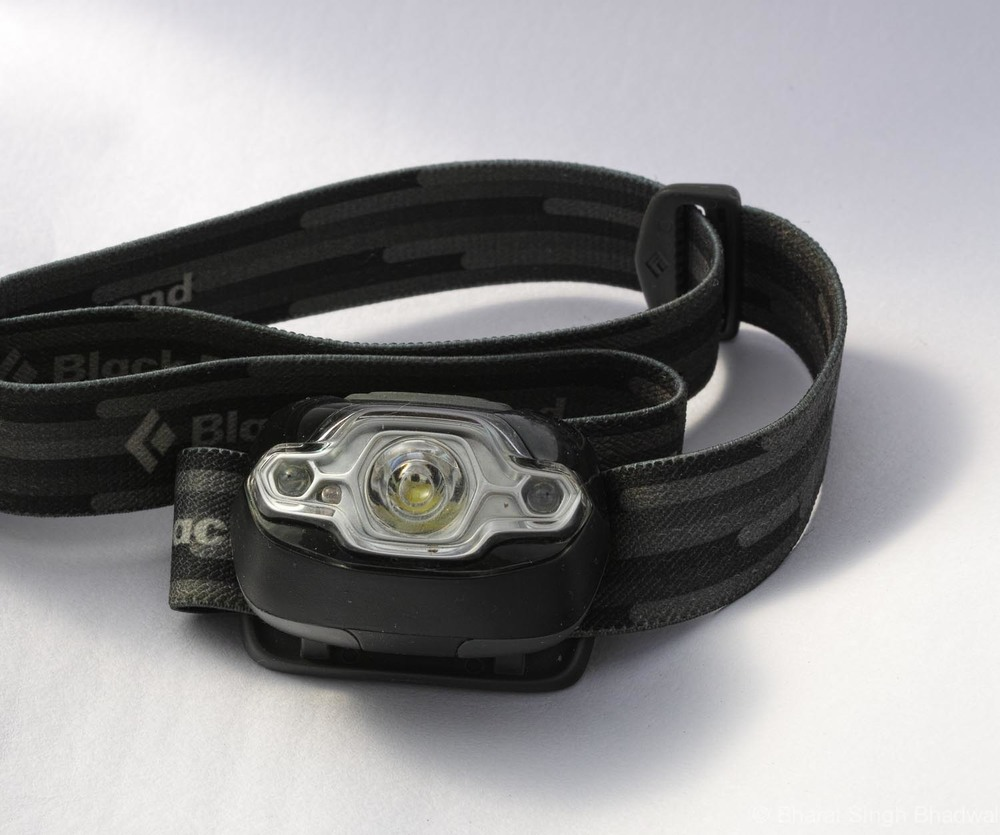 Black Diamond headlamp features a red led which illuminates without destroying night vision. Nifty feature we think.