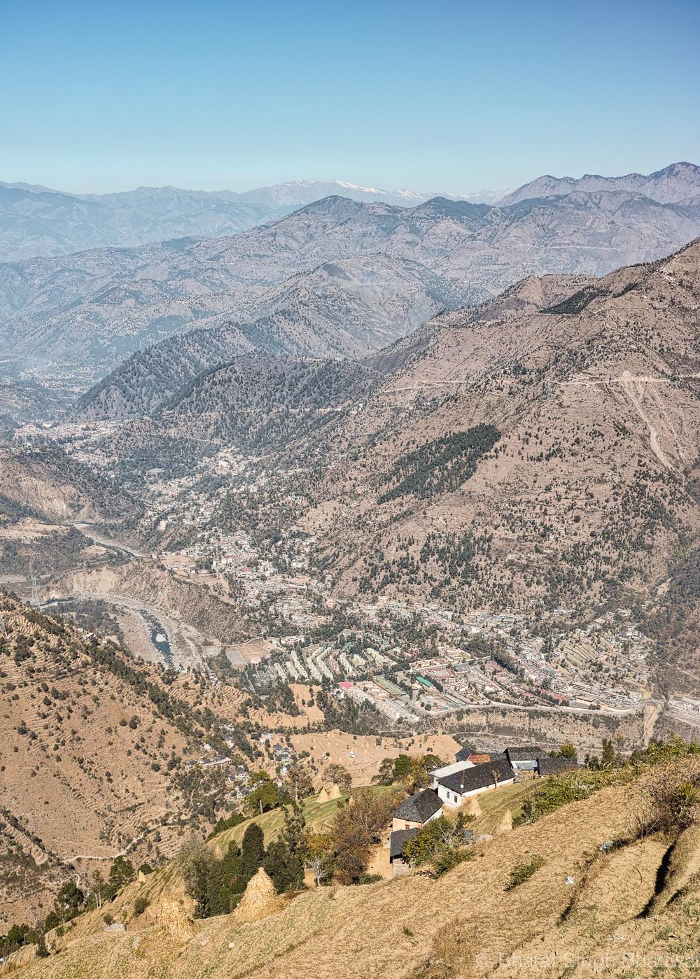 Chamera Project and Chamba town as viewed from Jatkari Village