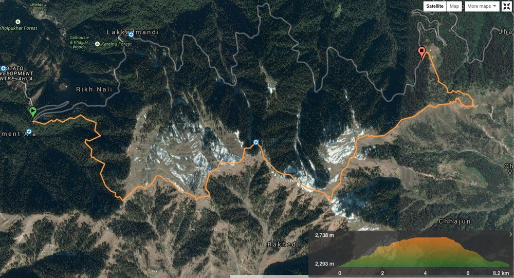 route overview - Dalhousie to Khajjiar (view in wikiloc / google maps)