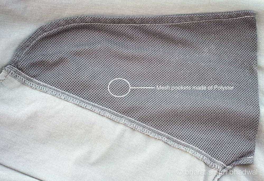 Front pockets are made of 100% polyester mesh