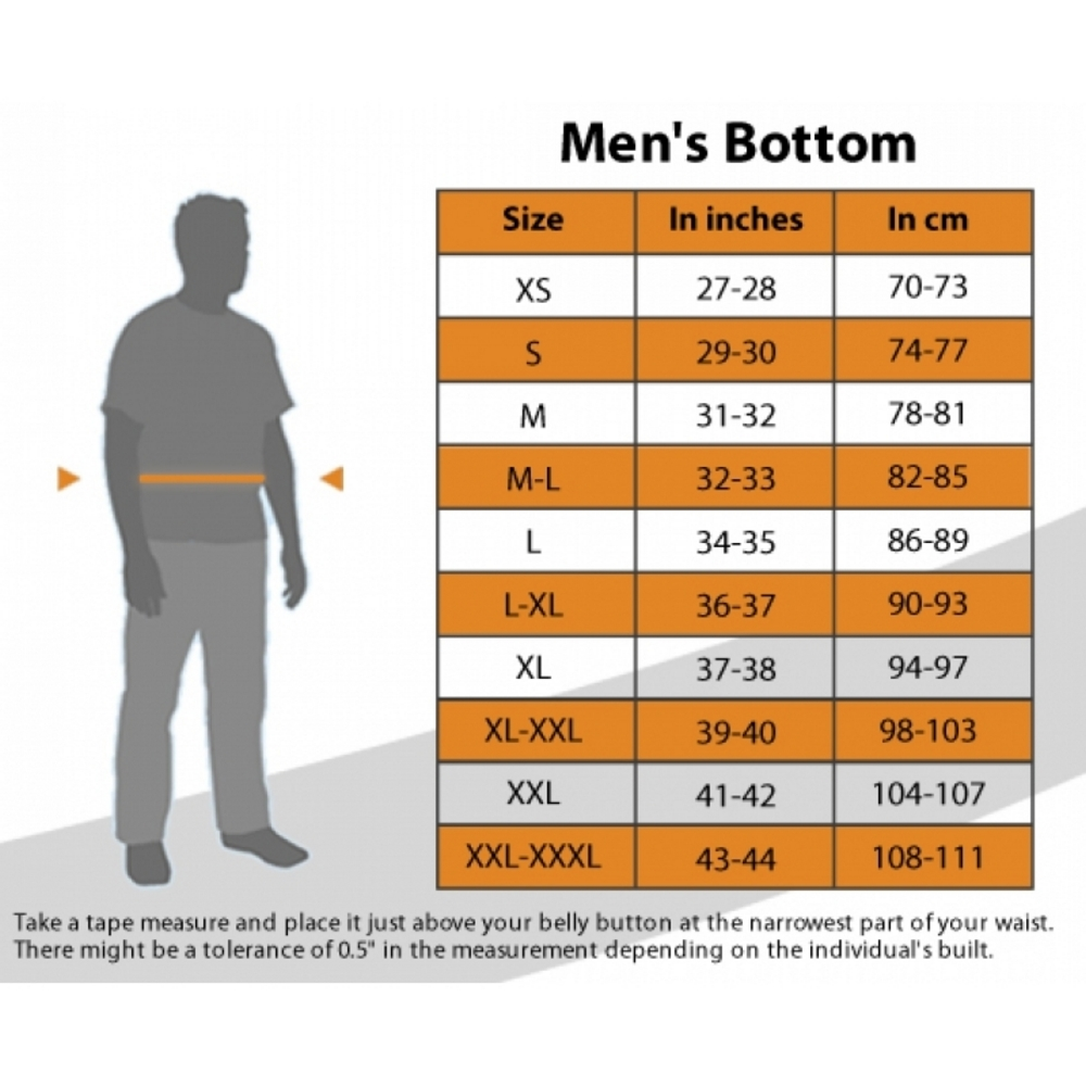 Decathlon trouser fit chart. Image © Decathlon India.