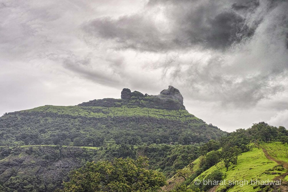 Irshalgad plateau and pinnacle during monsoons