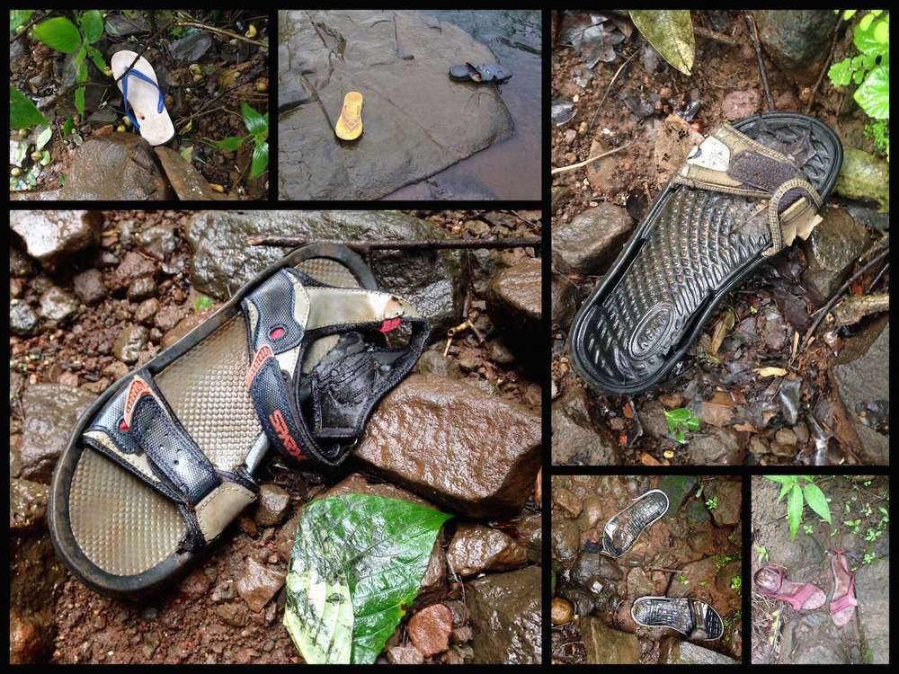 Discarded sandals on trekking trails.