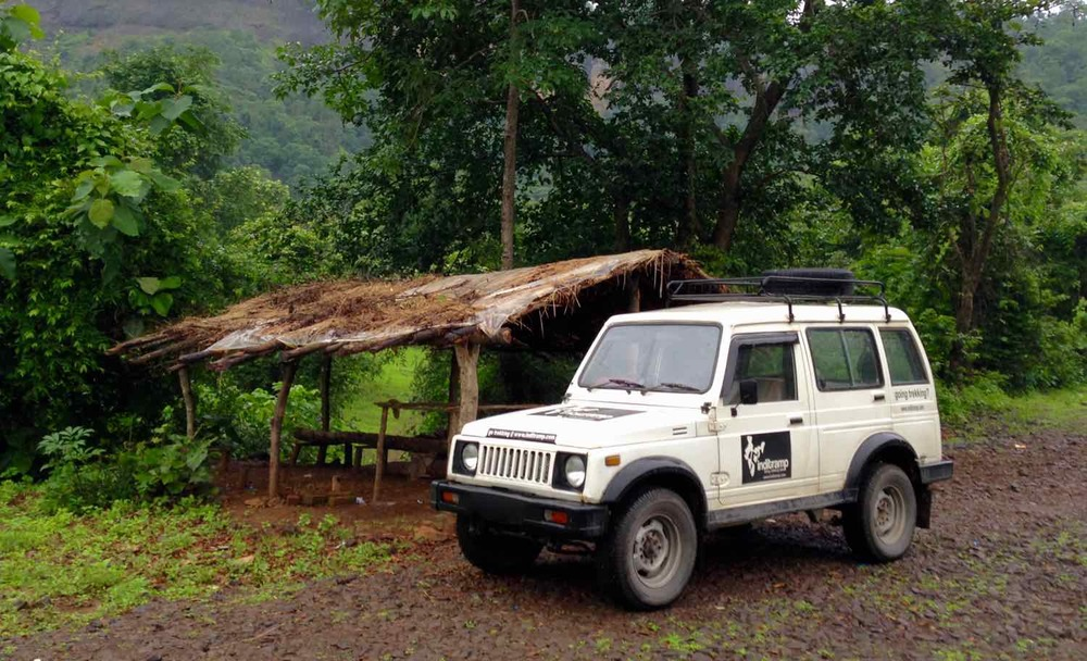 "Our vehicle, lovingly referred to as ""base camp 1"" parked near the shack that marks the stating point for Ganesh Ghat trek"