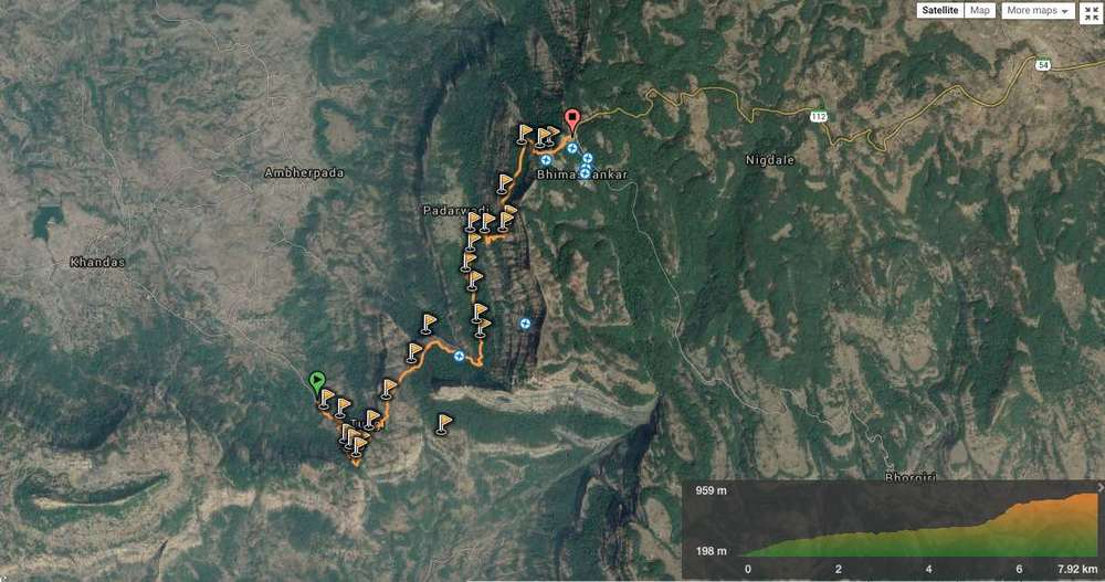 Route overview in 2D - Khandas to Bhimashankar. View in  wikiloc   /  google maps