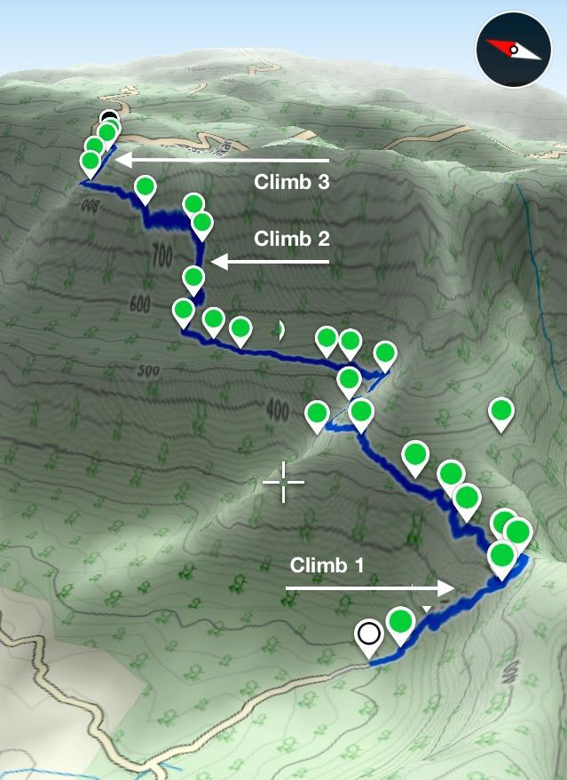 3D trekking map that shows the three climbs on the Ganesh Ghat route