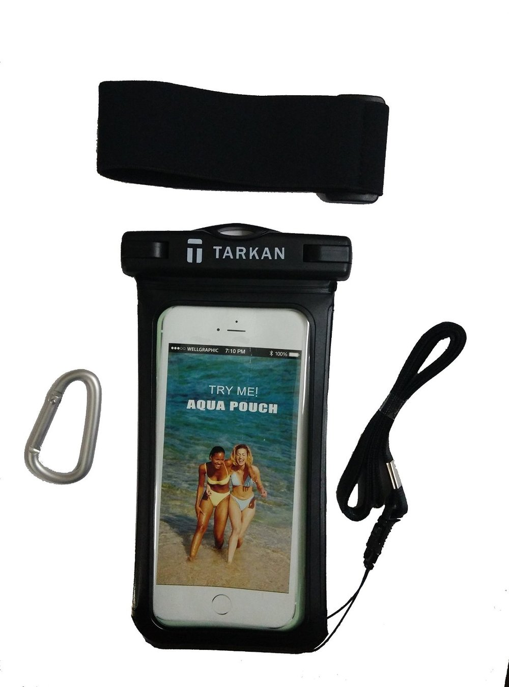 A generic waterproof pouch with a lanyard, fits most smartphones. Available on Amazon India