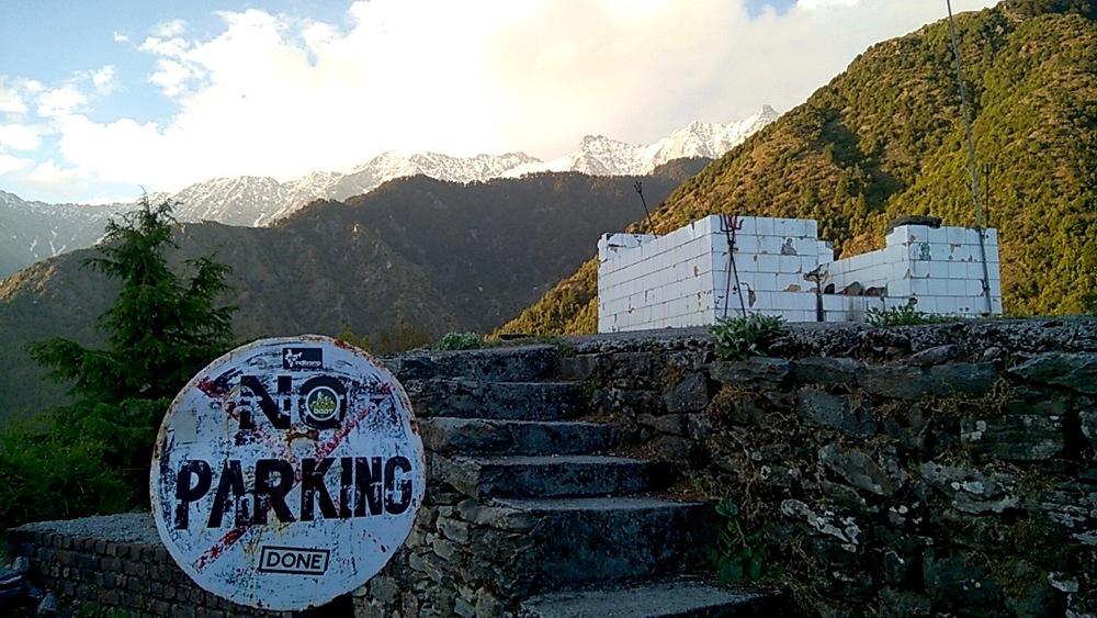 No Parking Sign near the Durga Temple