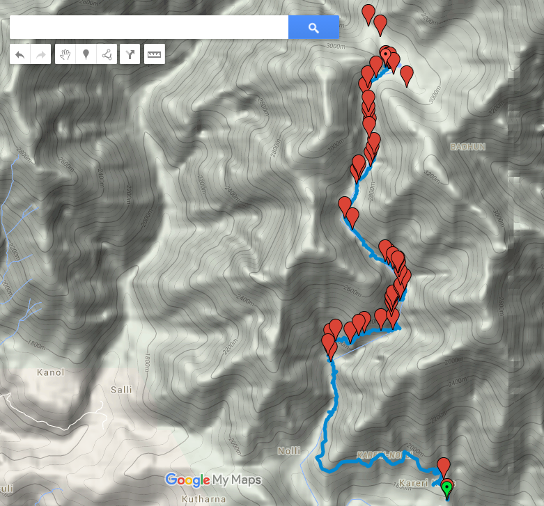Route Map - Kareri Lake trek overlaid on contour map
