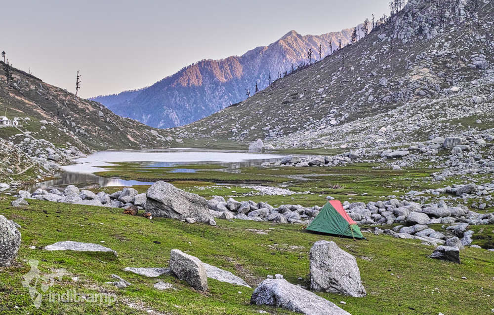 Sunrise over our camp at Kareri Lake. The lit up mountain is Baleni Pass.