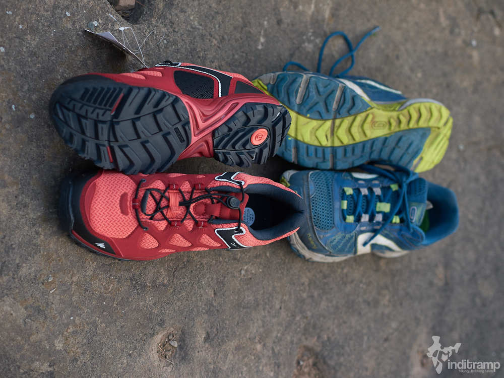 Left (Red) - Decathlon Quechua Forclaz Flex 3 with quick draw laces, Right (Blue) Decathlon Kapteren Crossover with traditional laces.