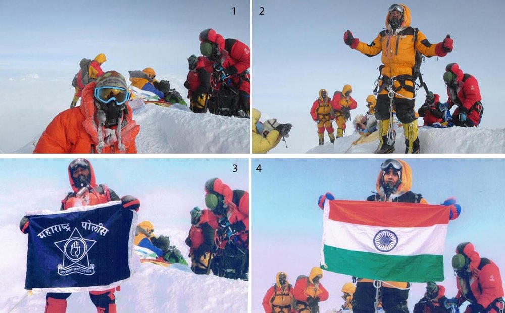 Satyarup Siddhantha (2) had charged that Dinesh Chandrakant Rathod (3) and his wife Tarkeshwari Chandrakant Bhelerao (4) morphed his photographs (1 & 2), taken on the top of Mt Everest, and submitted to Nepal's Department of Tourism to get the Everest summit certificates.
