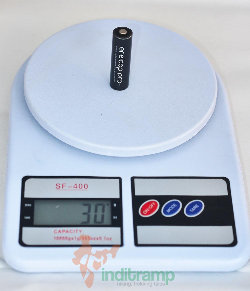 One Eneloop Pro AA battery is 30 grammes