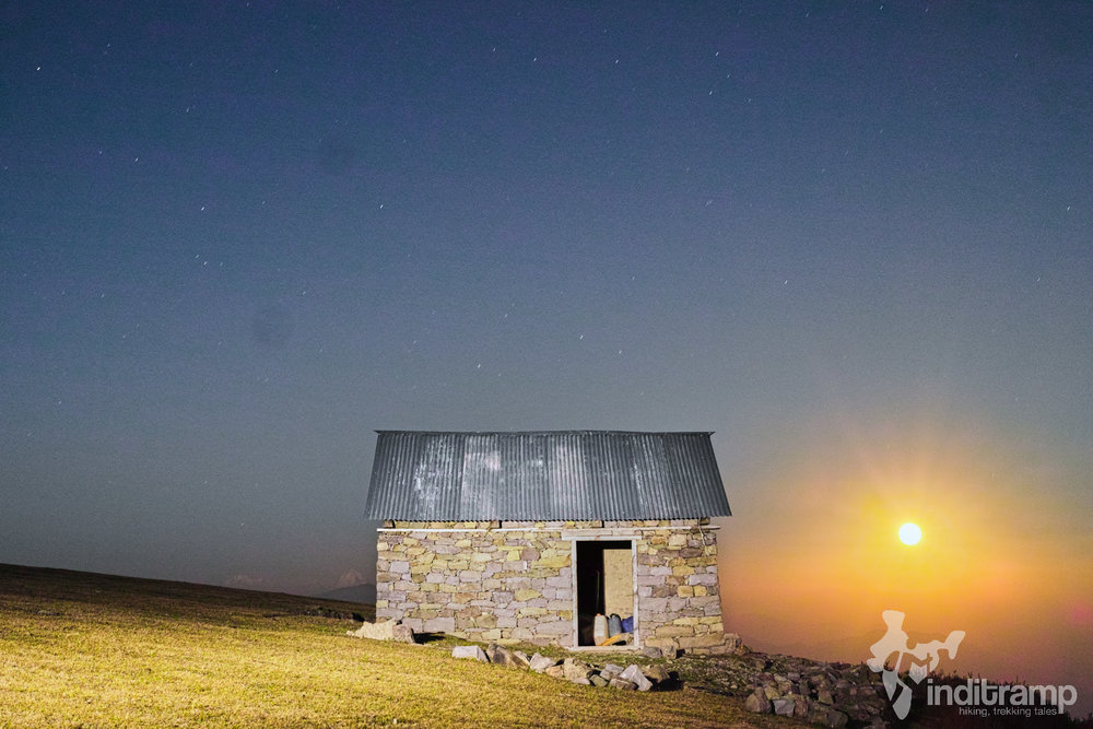 The Fenix LD09 lights up this shack for a night photo at  Shankhpal
