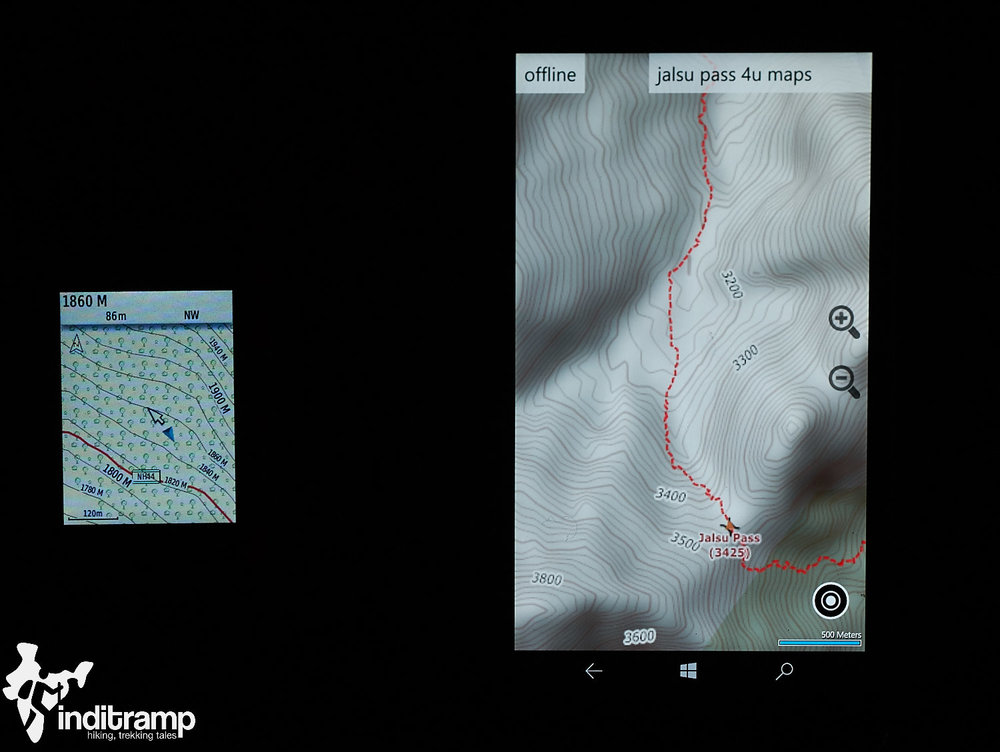 Garmin Etrex 20x 2.2 inch screen vs. a 5.7 inch smartphone screen. Despite its smaller screen the text and contour lines are clearly legible. The colour screen also makes it easier to distinguish between the road (in red) vs contour lines (in black)