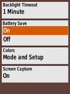Battery Save Menu