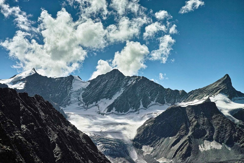 Glaciers at the foot of Kuja peak to the East of Kalah Pass