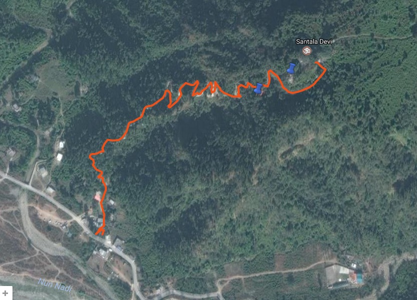 Route Overview - Santala Devi Temple (view in google maps)