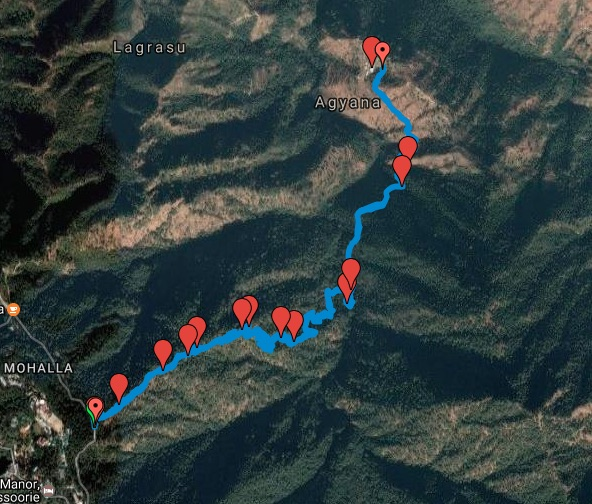 Route Map, Lal tibba to Kolti Village (view in Google Maps)