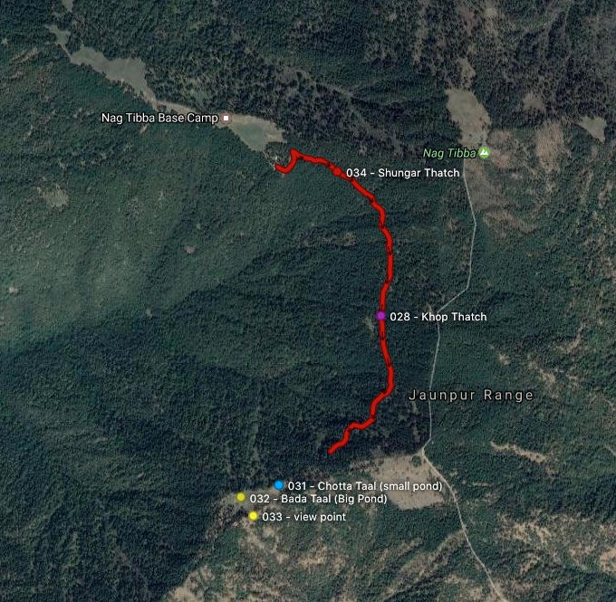 Nag Tibba Temple to Bada & Chotta Taal route and waypoints