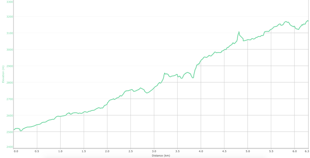 Elevation graph Janki Chatti to Yamunotri trek ( What is this? )