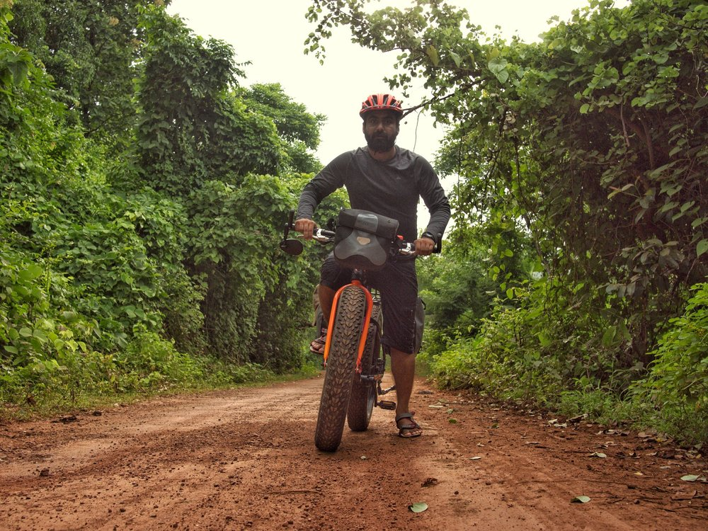 This is how most of the roads are if you step off the National and State Highways in India. 100s of kilometres on such roads and the fatbike is unfazed.