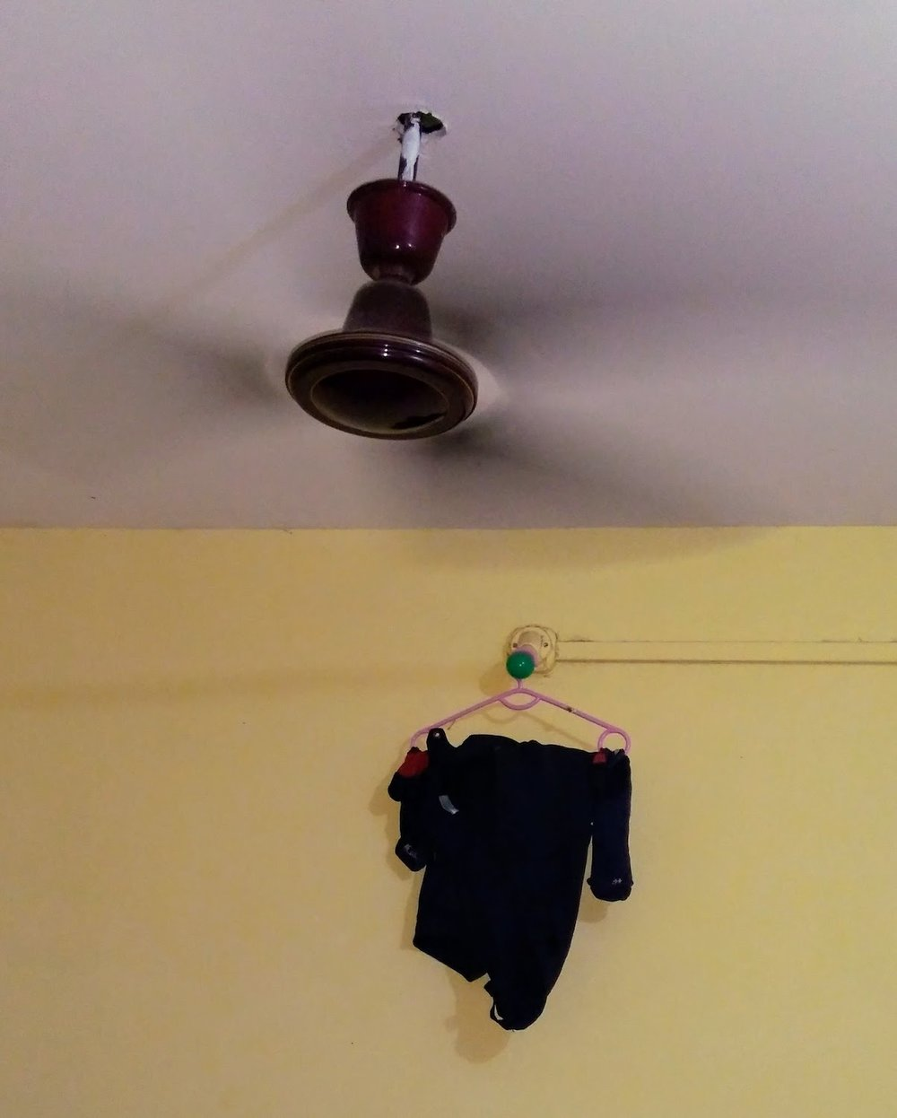 "Cycling clothes need drying in 100% humidity. The cloth hanger I ""liberated"" in Karnala. Sorry hotel."