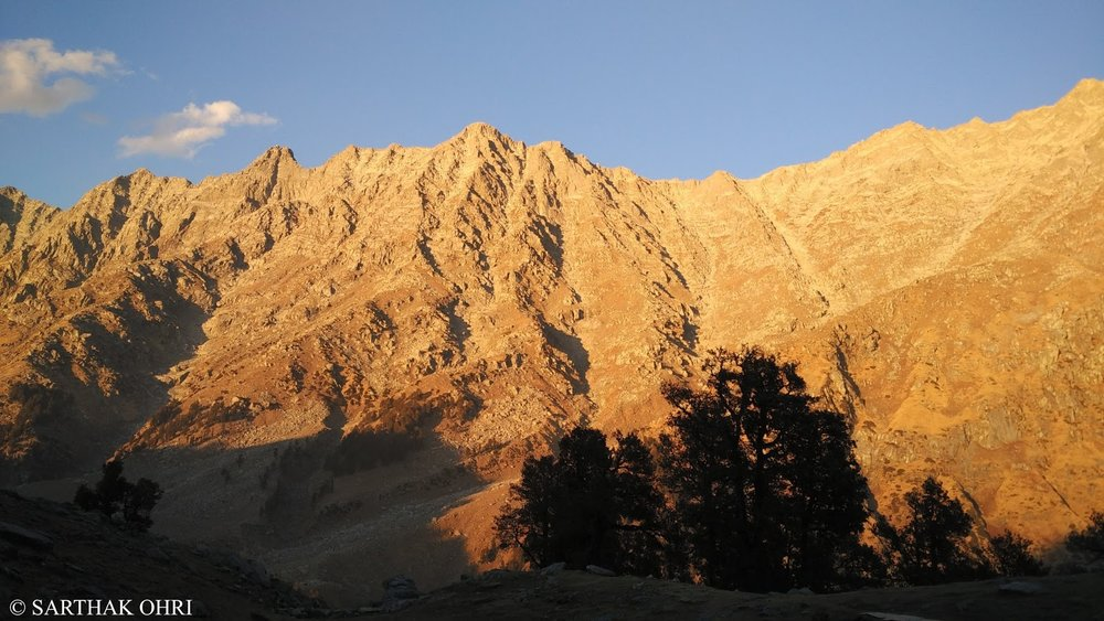 The Sun sets on Dhauladhar at Snowline Cafe. Reproduced with permission © Sarthak Ohri.