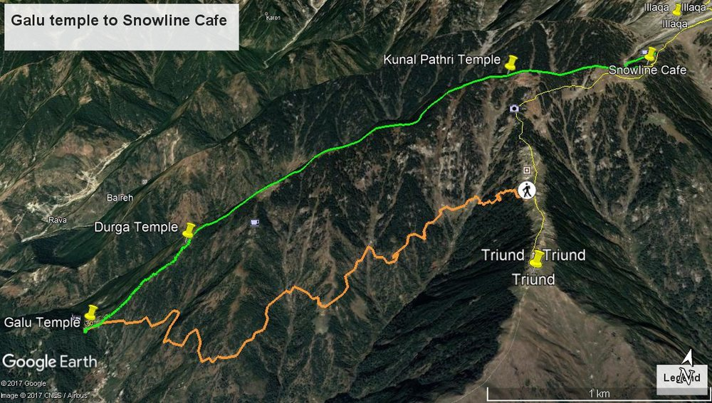 Route in Orange is the original route to Triund and beyond. While the route in Green is what we took.Reproduced with permission © Sarthak Ohri.