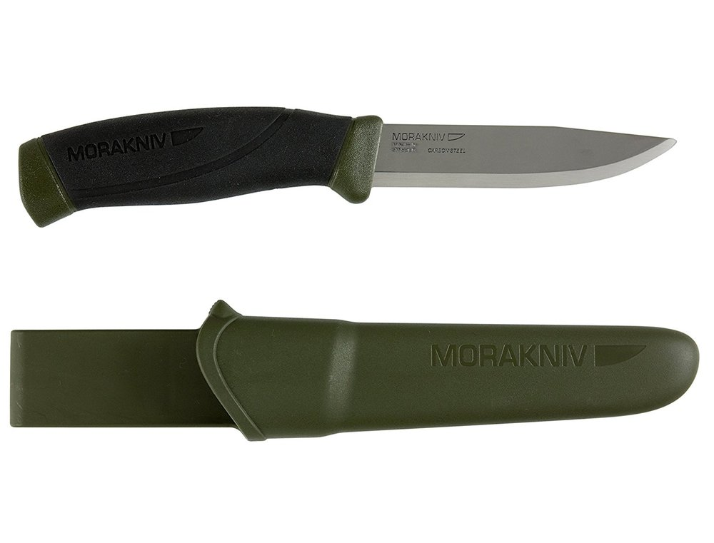 Morakniv Companion - It is a mora which means it is affordable and will outlast most users. Built in Sweden it comes with a 4.1